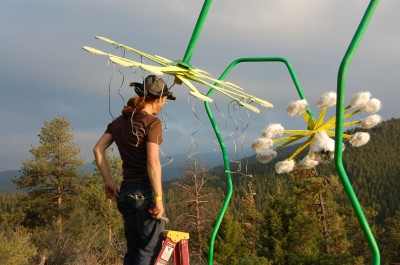 Setting up the MUFFFs - Musical Universe of Faux Fur Flowers, a sound-reactive art installation